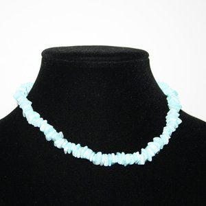 "Pretty blue shell necklace 16"" beachy"